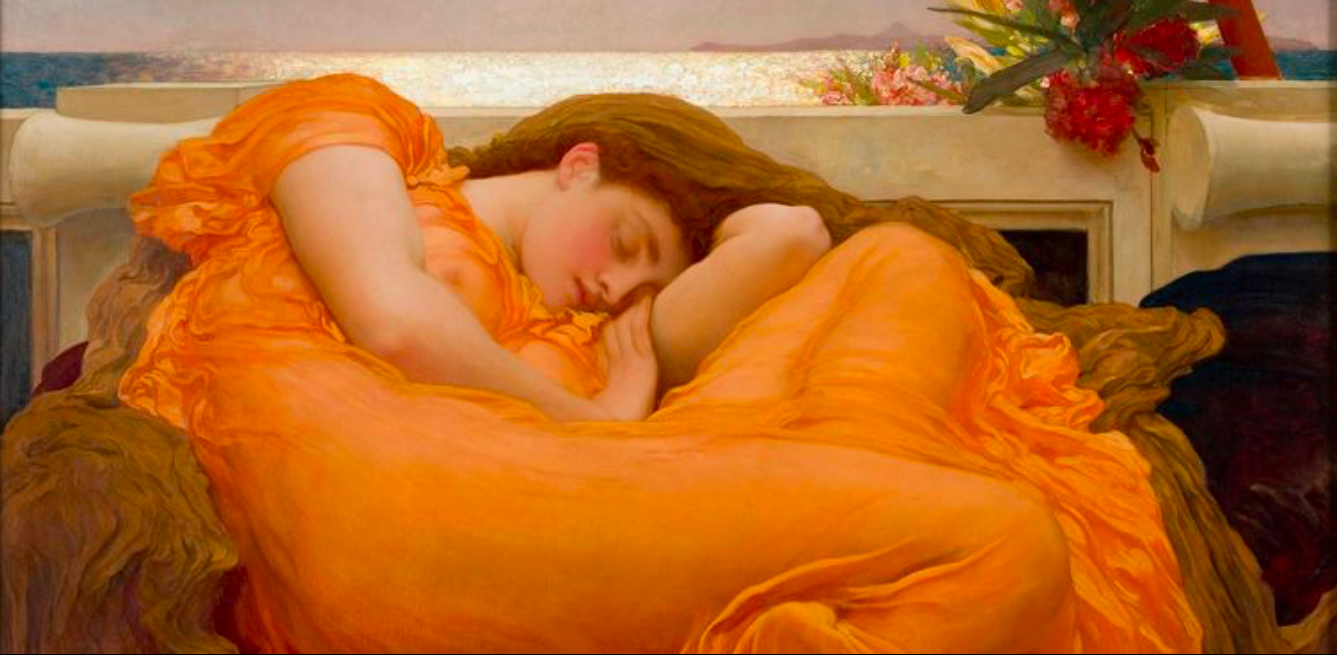 Slaapmeditatie. Flaming June 1895. Frederic Leighton.